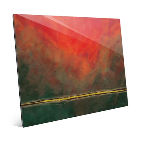 Falling Line Red & Green Wall Art Print on Acrylic