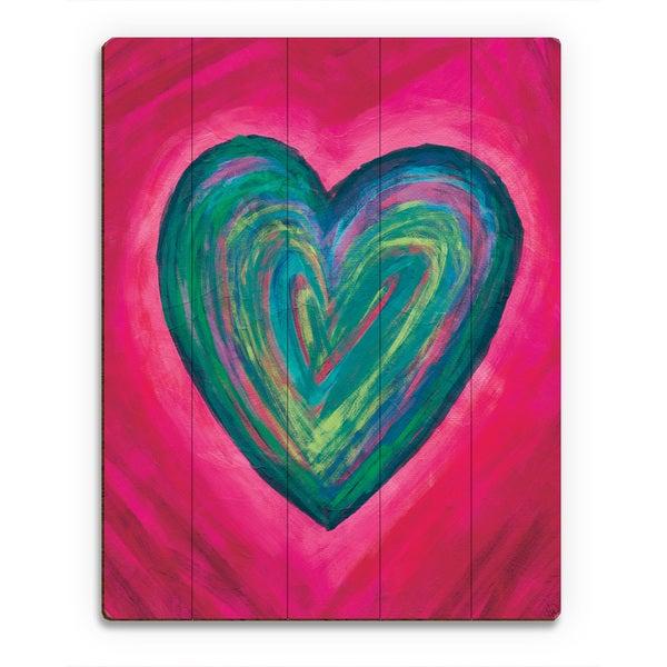 Strata Heart Teal Wall Art Print on Wood