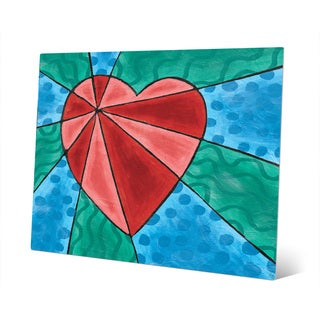 Heart Rays Red Wall Art Print on Metal