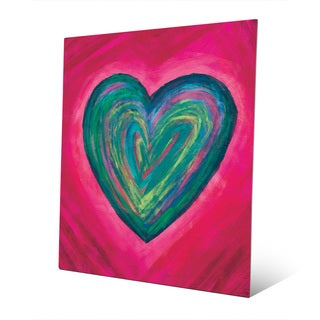 Strata Heart Teal Wall Art Print on Metal