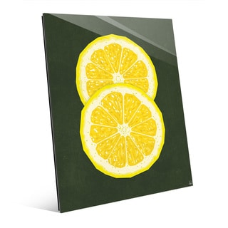 Simple Sliced Lemon Green Wall Art Print on Glass