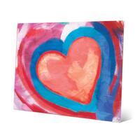 Swimming Pink Heart Wall Art Print on Metal