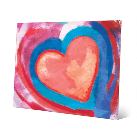 Swimming Pink Heart Wall Art Print on Metal