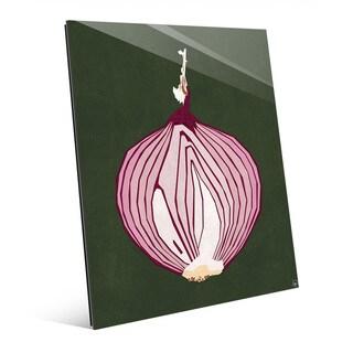 Simple Sliced Onion Green Wall Art Print on Glass