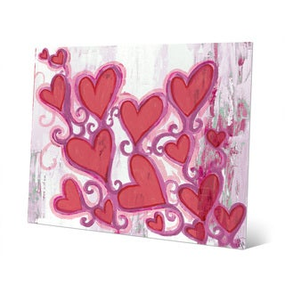 Floating Hearts on Pink Wall Art Print on Metal