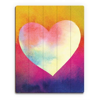 Canary Masked Heart Wall Art Print on Wood