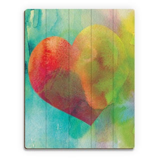 Vermillion Heart Wash Wall Art Print on Wood