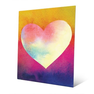 Canary Masked Heart Wall Art Print on Metal