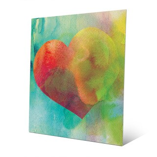 Vermillion Heart Wash Wall Art Print on Metal