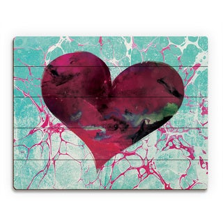 Teal Tale Heart Wall Art Print on Wood