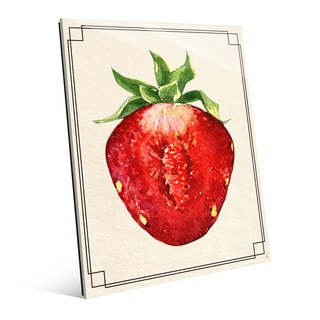 Strawberry Half Wall Art Print on Glass