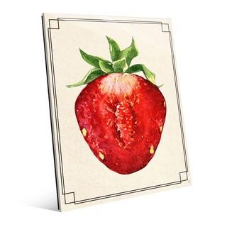 Strawberry Half Wall Art Print on Glass