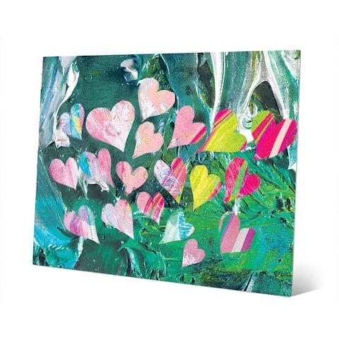 Fluttering Hearts on Malachite Wall Art on Metal