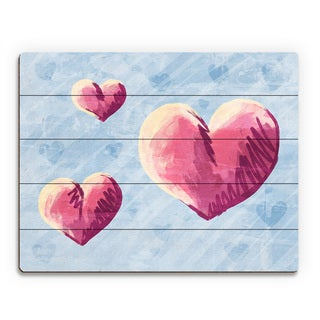 Sketchy Hearts on Blue Wall Art Print on Wood