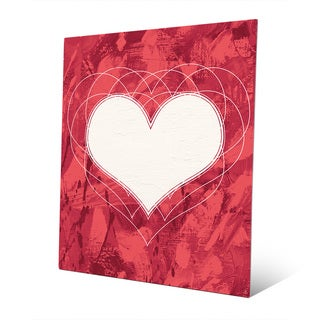 Heartbeat Red Wall Art Print on Metal