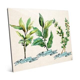 Herb Trio Blue Wall Art Print on Glass
