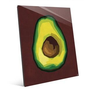 Simple Sliced Avocado Red Wall Art Print on Glass