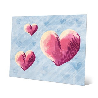 Sketchy Hearts on Blue Wall Art Print on Metal