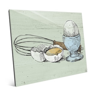 Whisk and Eggs on Green Wall Art Print on Glass