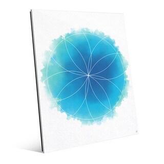 Blue Watercolor Flower Geometry Wall Art - Acrylic