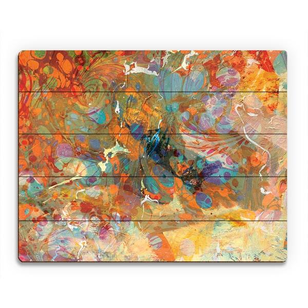 Oily Amber Spatter Swirl Wall Art Print on Wood