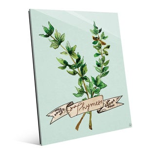 Watercolor Thyme on Sky Wall Art Print on Glass