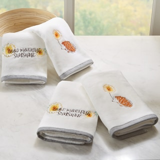 HipStyle Happy Hedgehog White Embroidered Cotton Hand Towel (set of 4)