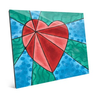 Heart Rays Red Wall Art Print on Glass