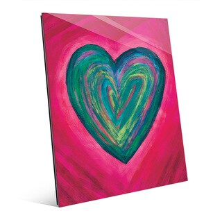 Strata Heart Teal Wall Art Print on Glass