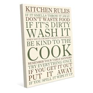 Kitchen Rules Green Wall Art Print on Canvas