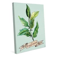 Watercolor Bay Leaves on Blue Wall Art on Canvas