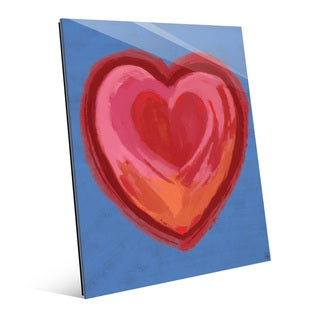 Holding Heart on Purple Wall Art Print on Glass