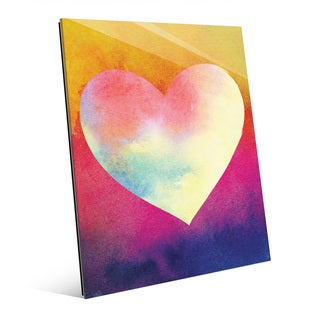 Canary Masked Heart Wall Art Print on Glass