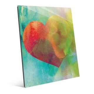 Vermillion Heart Wash Wall Art Print on Glass