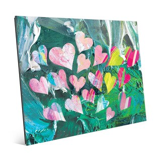 Fluttering Hearts on Malachite Wall Art on Glass