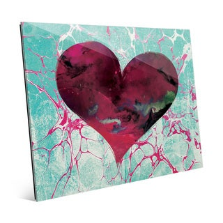 Teal Tale Heart Wall Art Print on Glass