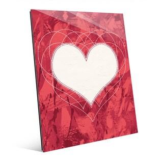 Heartbeat Red Wall Art Print on Glass