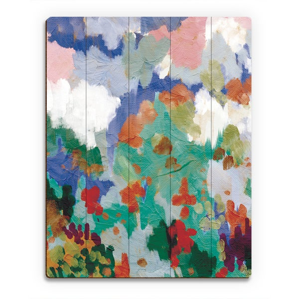 Blue Fields Wall Art Print on Wood