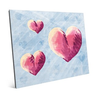 Sketchy Hearts on Blue Wall Art Print on Glass
