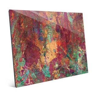 Rocky Scarlet Impasto Wall Art Print on Glass