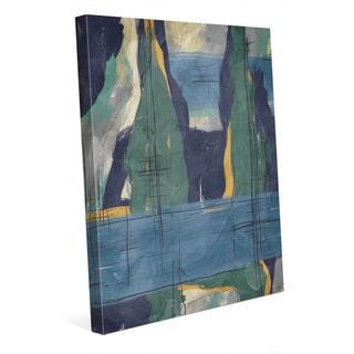 Rock Pillars Green & Blue Wall Art Print on Canvas