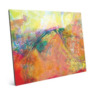 Oily Amber Spatter Wall Art Print on Glass