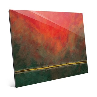 Falling Line Red And Green Wall Art Print on Glass