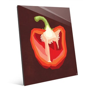 Simple Sliced Pepper Red Wall Art Print on Acrylic