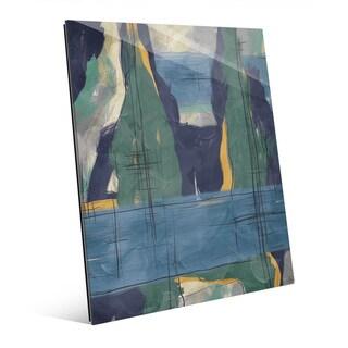 Rock Pillars Green & Blue Wall Art Print on Glass