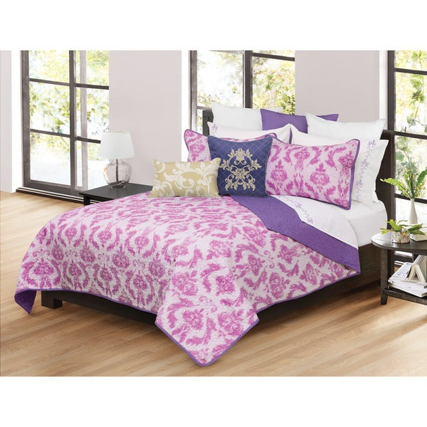 Capri Pink Floral 3-piece Quilt and Shams Set