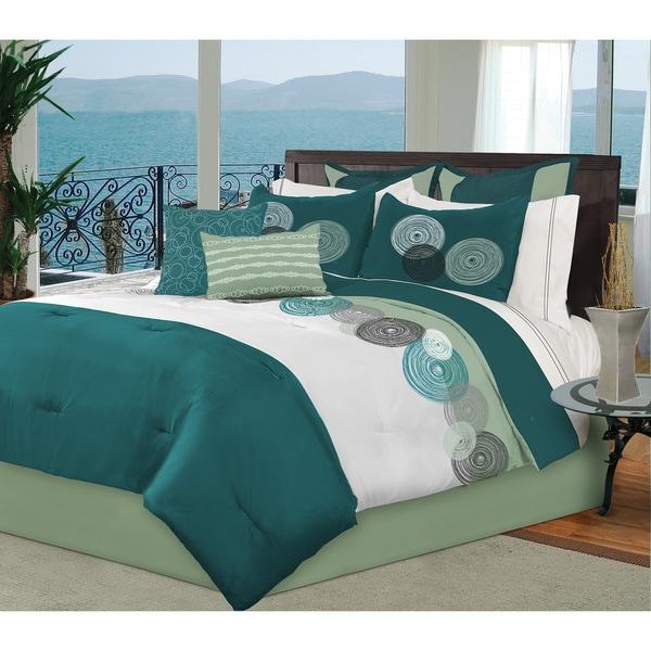Baily 8 Piece Teal Microfiber Comforter Bed Set