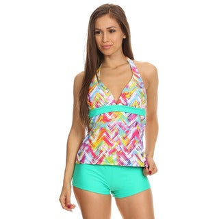 Dippin' Daisy's Women's Mint Plaid Two-piece Halter Tankini with Boyshorts