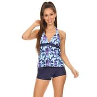 Women's Periwinkle Blue Two-Piece Halter Tankini with Boyshorts
