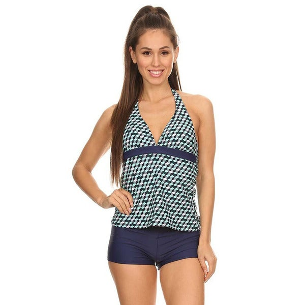 f92af4f0dc048 Shop Women's Mint Cube Two-piece Halter Tankini with Boyshorts - On Sale -  Free Shipping On Orders Over $45 - Overstock - 14063322